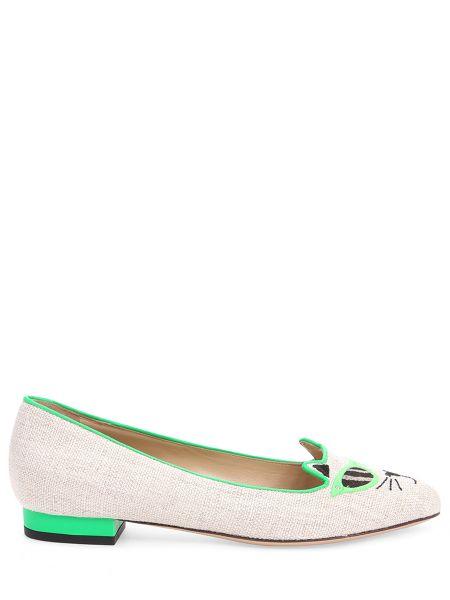Балетки зеленый кожаные Charlotte Olympia