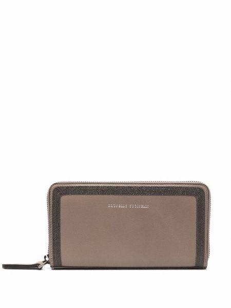Beżowy portfel skórzany Brunello Cucinelli
