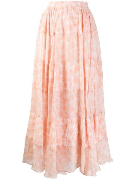 Шелковая ажурная розовая юбка макси на молнии Noon By Noor