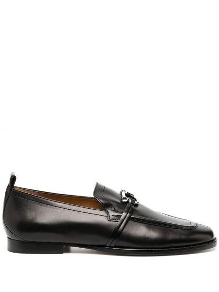 Skórzany czarny loafers na pięcie plac Isabel Marant