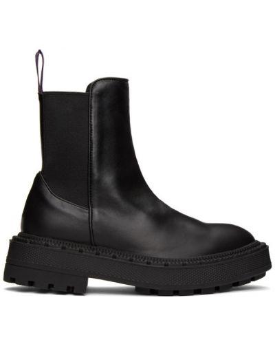 Skórzany czarny buty na wysokości okrągły na pięcie Eytys