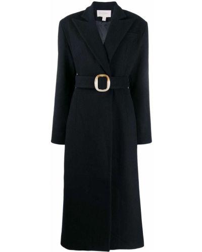 Черное длинное пальто с капюшоном Matériel