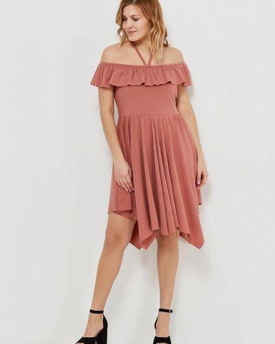 Коричневое платье со спущенными плечами Lost Ink Plus