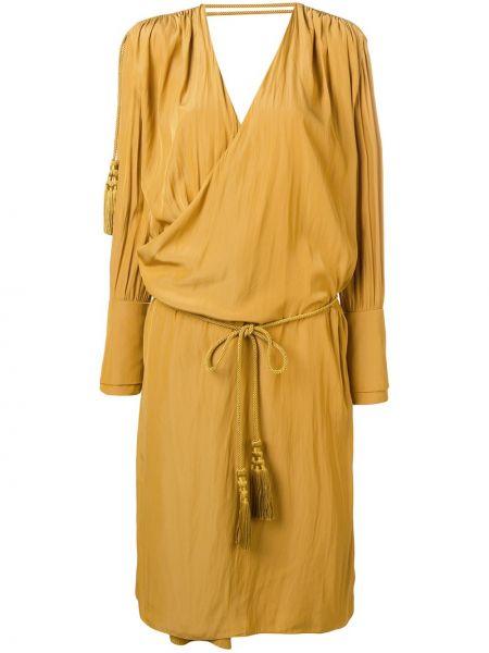 Желтое свободное платье миди с запахом Lanvin