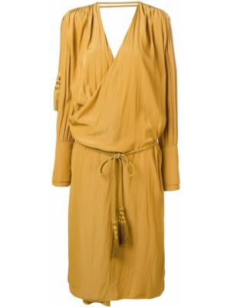 Платье миди на запах - желтое Lanvin