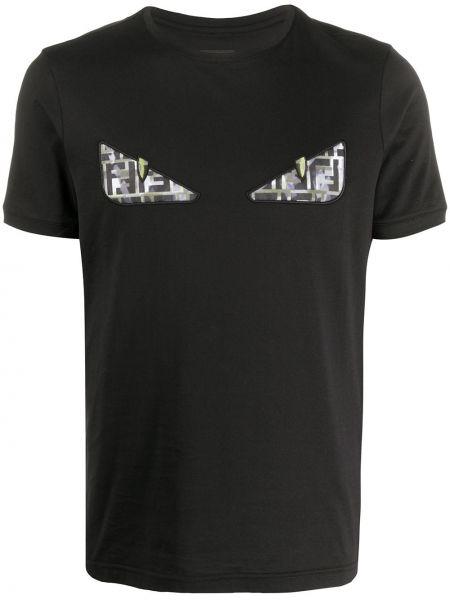 Koszula krótkie z krótkim rękawem z haftem czarna Fendi