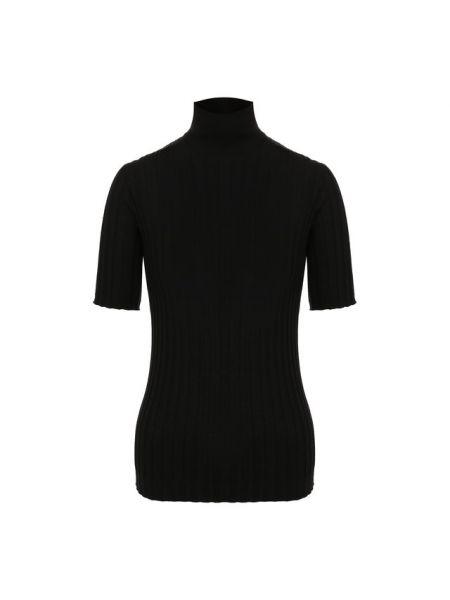 Водолазка с короткими рукавами черная из мериноса Bottega Veneta