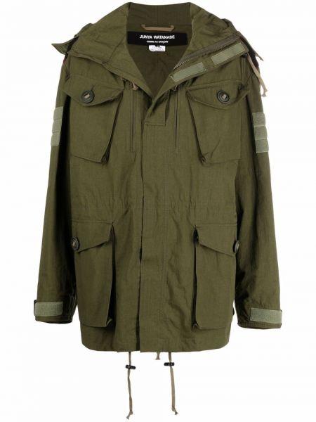Зеленое пальто с накладными карманами Junya Watanabe