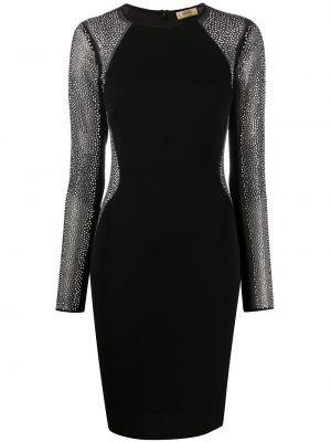 Льняное черное платье миди с длинными рукавами Liu Jo