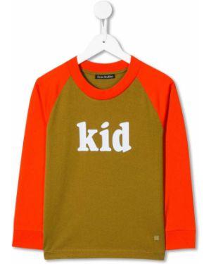 Zielony t-shirt bawełniany z printem Acne Studios Kids