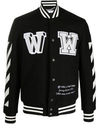 Wełniany czarny długa kurtka z paskami Off-white