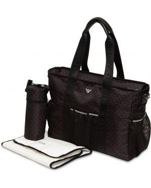 Czarna torebka z nylonu z printem Emporio Armani