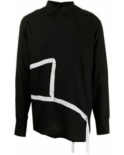 Czarna biała koszula z długimi rękawami zapinane na guziki Sulvam