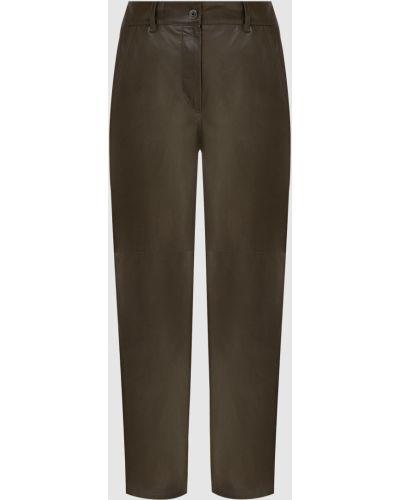 Повседневные зеленые кожаные брюки Brunello Cucinelli