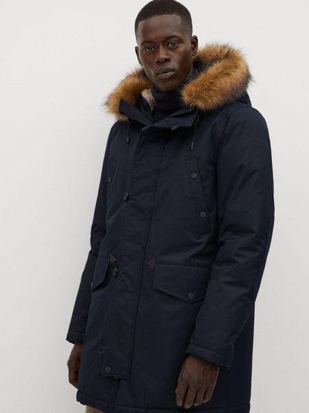 Синяя куртка с капюшоном из искусственного меха Mango Man