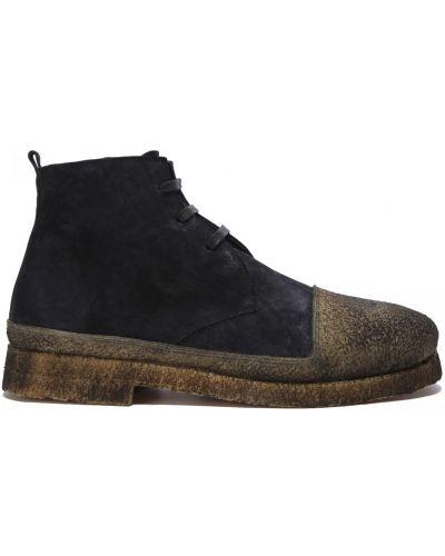Синие кожаные ботинки на шнуровке Rocco P.