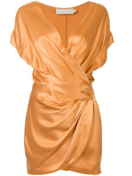 Желтое шелковое платье с V-образным вырезом на молнии Michelle Mason