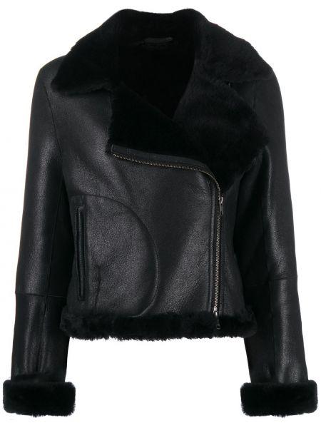 Кожаная куртка с мехом - черная Ann Demeulemeester