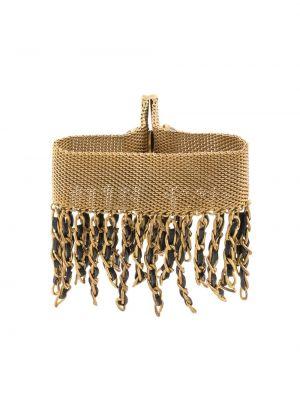 Złota szeroki bransoletka pozłacana z frędzlami Chanel Pre-owned