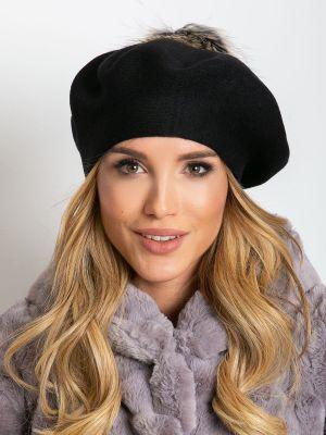 Czarny beret materiałowy Fashionhunters