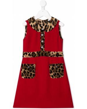 Платье с рукавами леопардовое расклешенное Dolce & Gabbana Kids