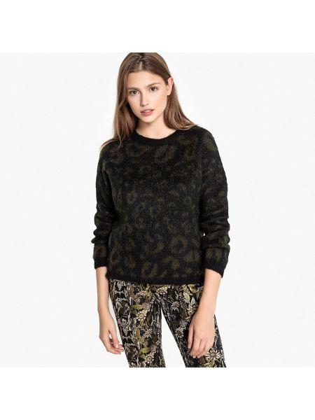 Пуловер хаки из мохера круглый с круглым вырезом Sud Express