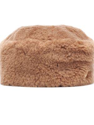 Коричневая шерстяная шапка винтажная Max Mara