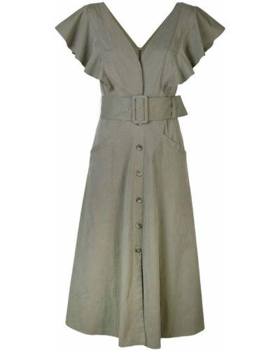 Платье миди на пуговицах с V-образным вырезом Tanya Taylor
