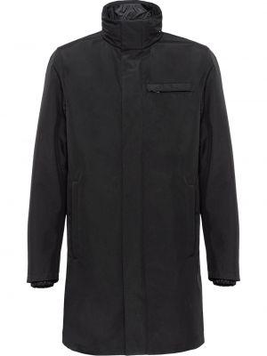 Czarny płaszcz przeciwdeszczowy z długimi rękawami od płaszcza przeciwdeszczowego z kieszeniami Prada