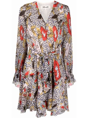 Brązowa sukienka rozkloszowana w kwiaty Dvf Diane Von Furstenberg