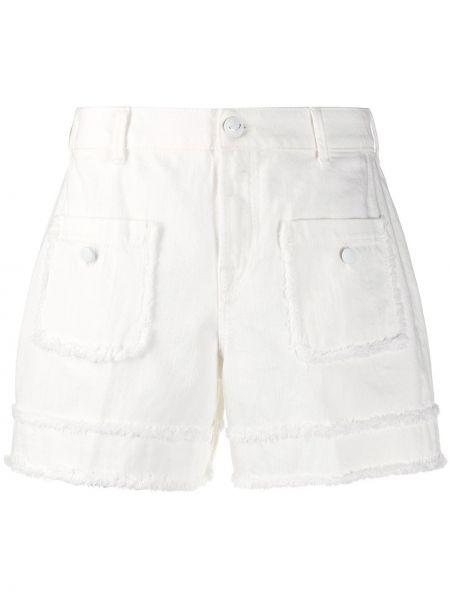 С завышенной талией хлопковые белые джинсовые шорты Jacob Cohen