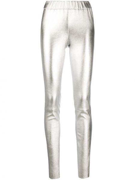 Кожаные леггинсы - серые Max & Moi