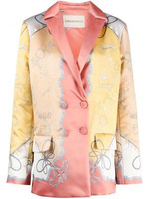 Розовое пальто на пуговицах Emilio Pucci