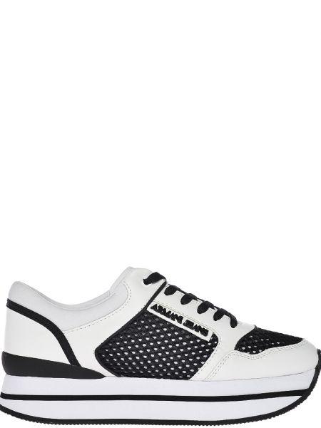 Белые кроссовки на платформе Armani Jeans