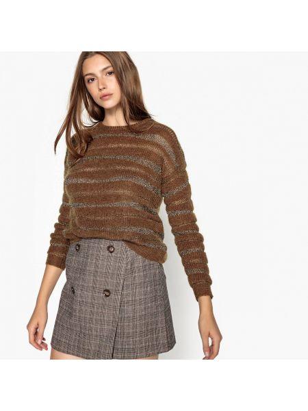 Коричневый пуловер из мохера круглый с круглым вырезом See U Soon