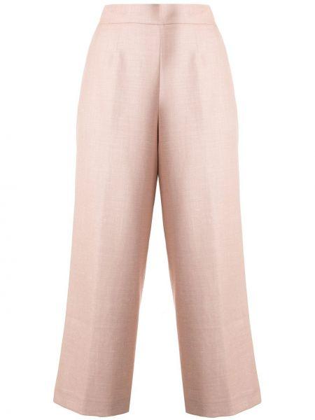 Шерстяные розовые укороченные брюки с поясом Kiton
