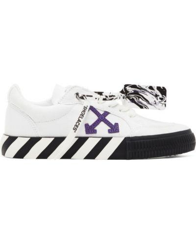 Белые кроссовки на шнурках прозрачные Off-white