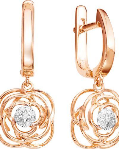 Золотые серьги с бриллиантом Vesna Jewelry