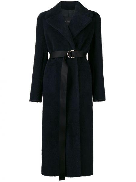 Черное кожаное пальто с поясом Blancha