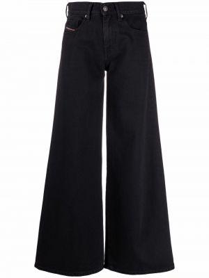 Широкие джинсы с завышенной талией - черные Diesel