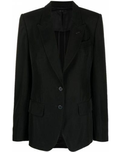 Черный удлиненный пиджак с карманами на пуговицах Tom Ford