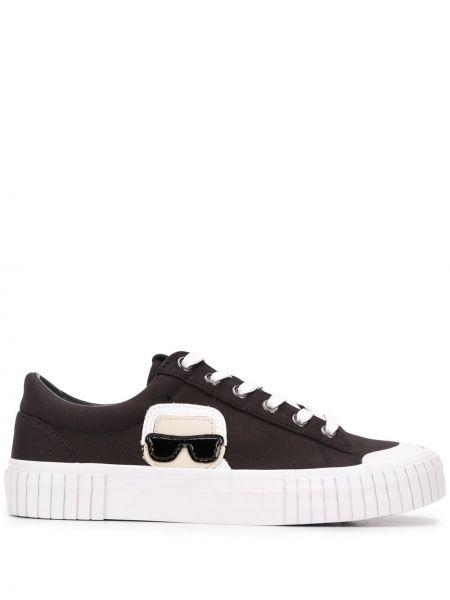 Czarne sneakersy skorzane sznurowane Karl Lagerfeld