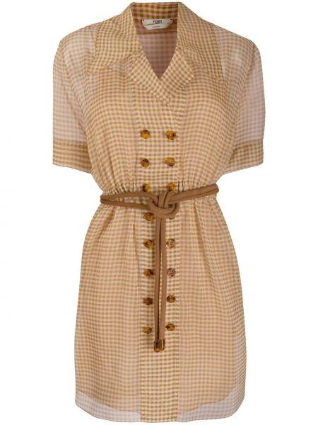 Sukienka mini z kołnierzem z guzikami Fendi