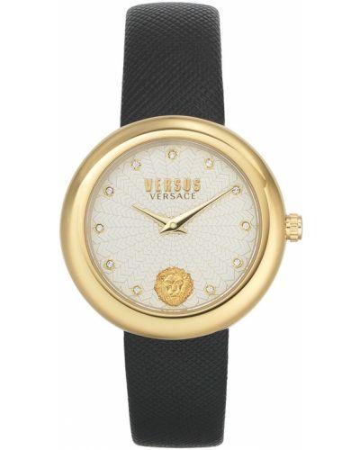Czarny zegarek kwarcowy skórzany z paskiem Versus Versace