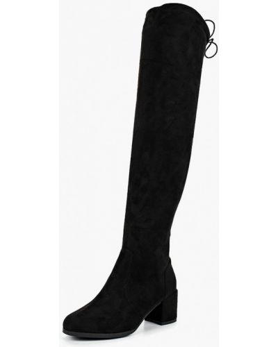 Ботфорты на каблуке замшевые черные Style Shoes