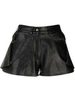 Черные кожаные шорты на молнии Almaz
