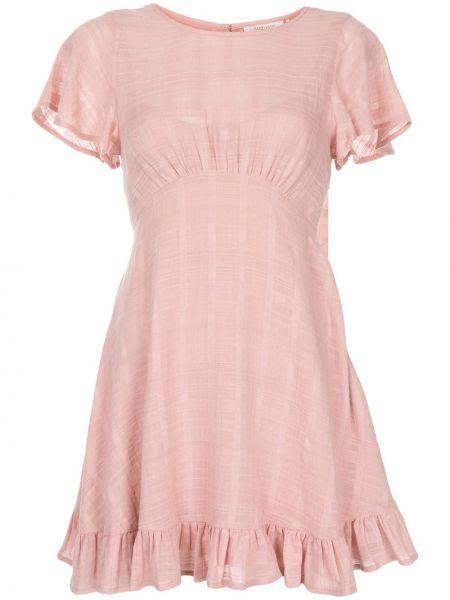 Приталенное розовое платье мини с воротником с вырезом Auguste