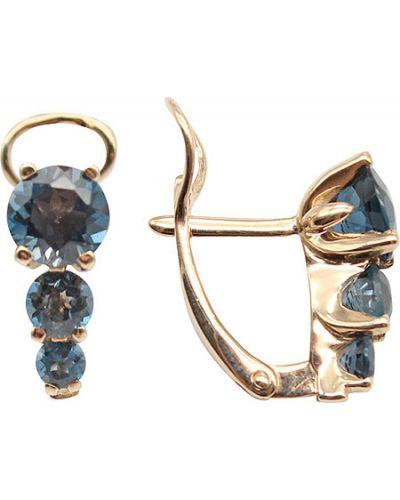 Золотые серьги с топазом Aquamarine