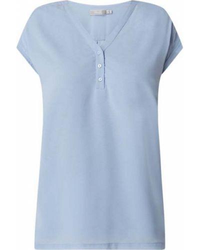 Niebieska bluzka z wiskozy z dekoltem w serek Fransa