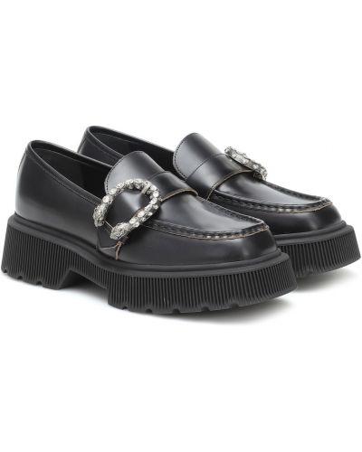 Skórzany czarny loafers Gucci
